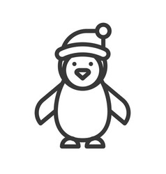 penguin wearing santa claus hat merry christmas vector image