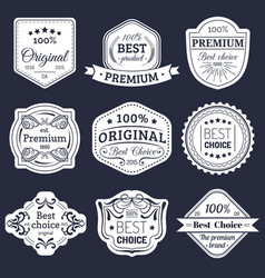 Premium logos set best choice emblems quality vector