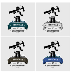 Professional handyman house fixing logo design vector