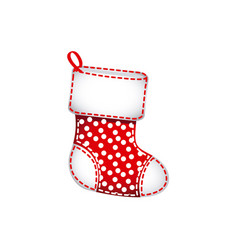Red christmas socks with fur and snow points vector