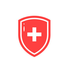 Red icon of medical shield in flat style vector