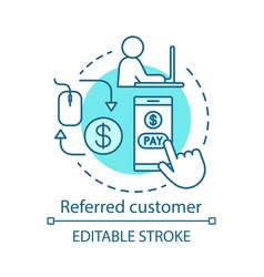 Referred customer concept icon referral marketing vector