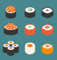 Roll sushi icon set vector