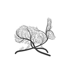 Running hare rabbit stylized bush vector
