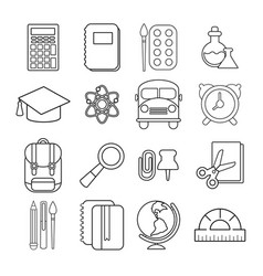 school education icons set outline style vector image