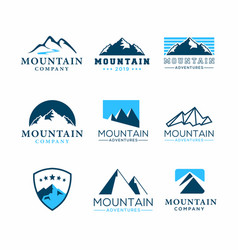 Set mountain adventure logo template vector