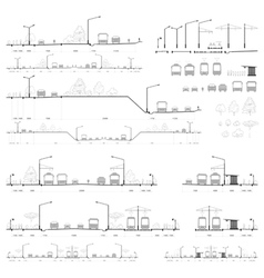 Set of city road cross-sections vector image
