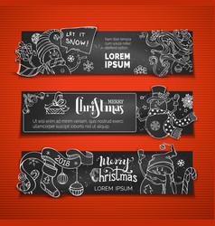 set of horizontal chalk christmas blackboard vector image