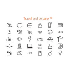 Set of thirty flat line icons for a site or vector