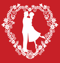 Silhouette kissing the bride and groom vector