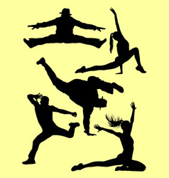 silhouette modern dance hip hop and street dance vector image
