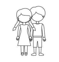 Sketch silhouette faceless couple girl with braids vector