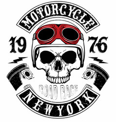 Skull t shirt motorcycle logo graphic design vector