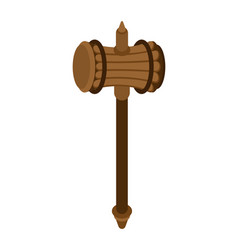 Sledgehammer weapon isolated wooden war hammer vector