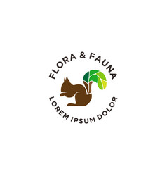 Squirrel logos squirrels with green leaf tails vector