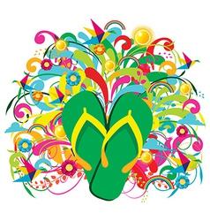Summer Flip flops over floral background vector image