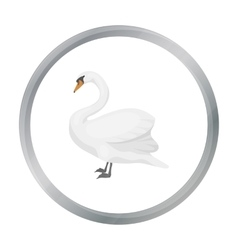 Swan icon in cartoon style isolated on white vector