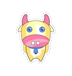 sweet funny cow colorful cloth patch applique vector image