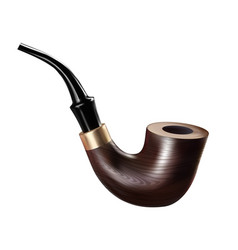 Tobacco pipe ancient wooden smoke equipment vector