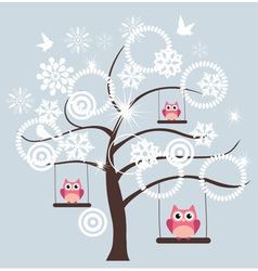 tree snow owl vector image