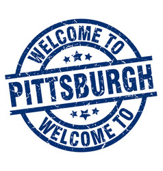 Welcome to pittsburgh blue stamp vector