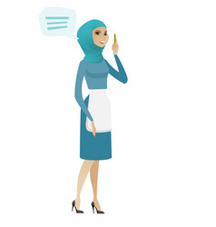 Young muslim cleaner with speech bubble vector