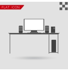 Black icon of desk Flat Style with red vector image vector image