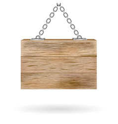 blank wooden signboard hanging on chain vector image