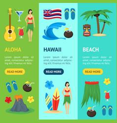 cartoon symbol of hawaii banner vecrtical set vector image vector image