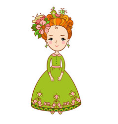 spring flowers and girl vector image