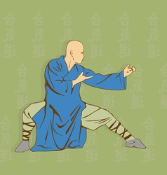 The man shows Kung Fu against a hieroglyph vector image