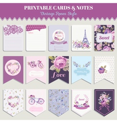 Vintage Flowers Card Set - for party design vector image vector image