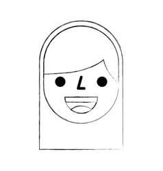 cartoon face girl smile avatar person icon vector image