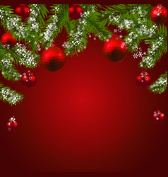 christmas new year green fir branches with red vector image vector image