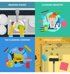 Cleaning Concept Icons Set vector image