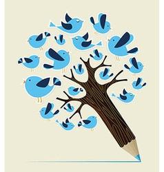 Communication birds concept pencil tree vector image vector image