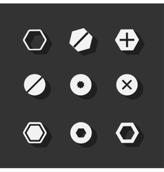 Screw bolt flat icons vector image vector image