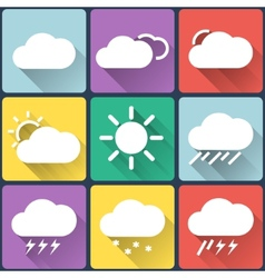 Weather flat icons set on multicolor background vector image vector image