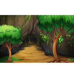 A cave at the forest vector image