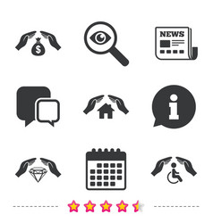 hands insurance icons money savings sign vector image