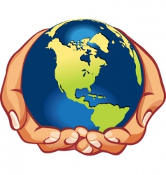 hands with earth vector image vector image