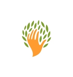 Isolated abstract human hand with leaves logo vector
