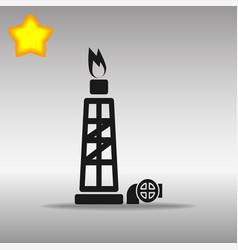 Black gas rig icon button logo symbol concept high vector