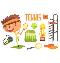 boy tennis playerkids future dream professional vector image