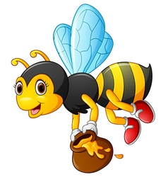 flying Bee cartoon holding honey bucket vector image vector image