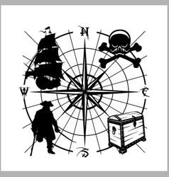Pirates emblem - chest of gold pirate schooner vector
