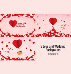 3 love wedding and valentines day background vector image