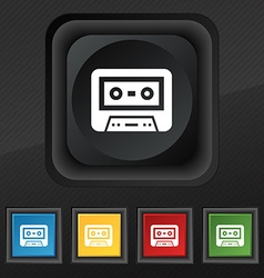 audiocassette icon symbol Set of five colorful vector image