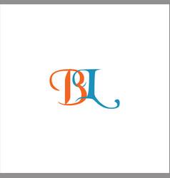 B l letter logo emblem design on black color vector