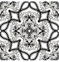 baroque black and white floral seamless pattern vector image